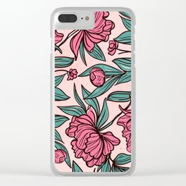 Background of hand drawn flowers and leaves Clear iPhone Case