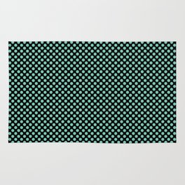 Black and Lucite Green Polka Dots Rug