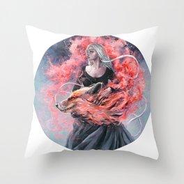 DragonFox Throw Pillow