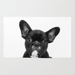 Black and White French Bulldog Rug