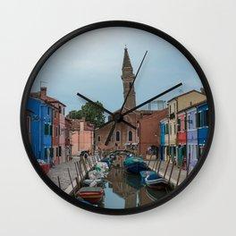 Burano Island Italy Canal Boats Wall Clock