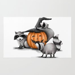 Raccoons and Jack-O-Lanterns Rug