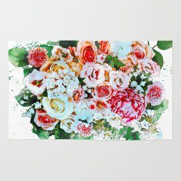 Rose Flower Bouquet Watercolor Rug