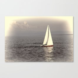 Sailing boat on the lake Canvas Print