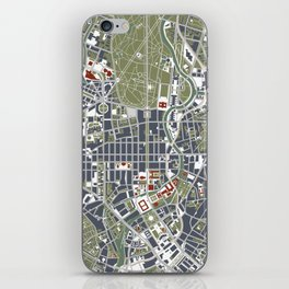 Berlin city map engraving iPhone Skin