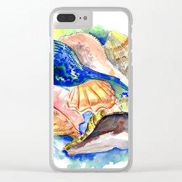Seashells, ocan beach seashell artwork Clear iPhone Case