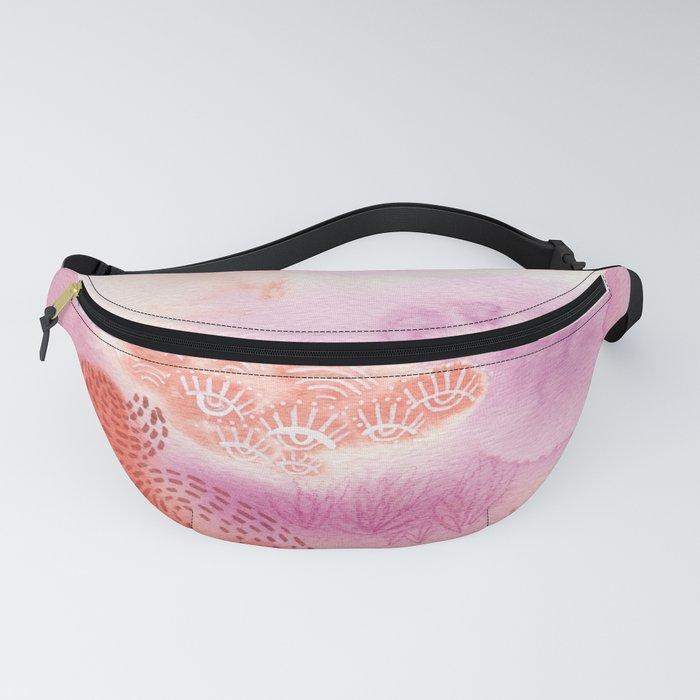 Herb Song in Lavender with Mugwort Contemporary Abstract Watercolor Painting Fanny Pack