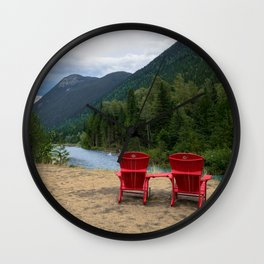Red Chairs Photography Wall Clock