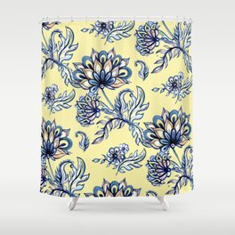 yellow and blue batik Shower Curtain