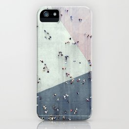 High angle view of people on street iPhone Case