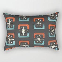 Mid Century Modern Starburst Shells Blue and Orange Rectangular Pillow