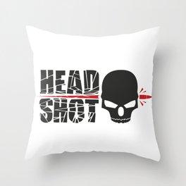 Headshot skull Throw Pillow