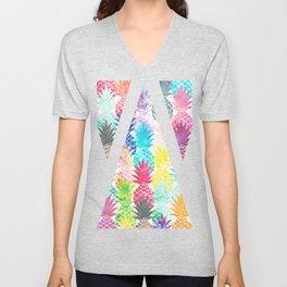 Hawaiian Pineapple Pattern Tropical Watercolor Unisex V-Neck
