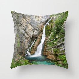 Savica Waterfall Photography Nature Throw Pillow