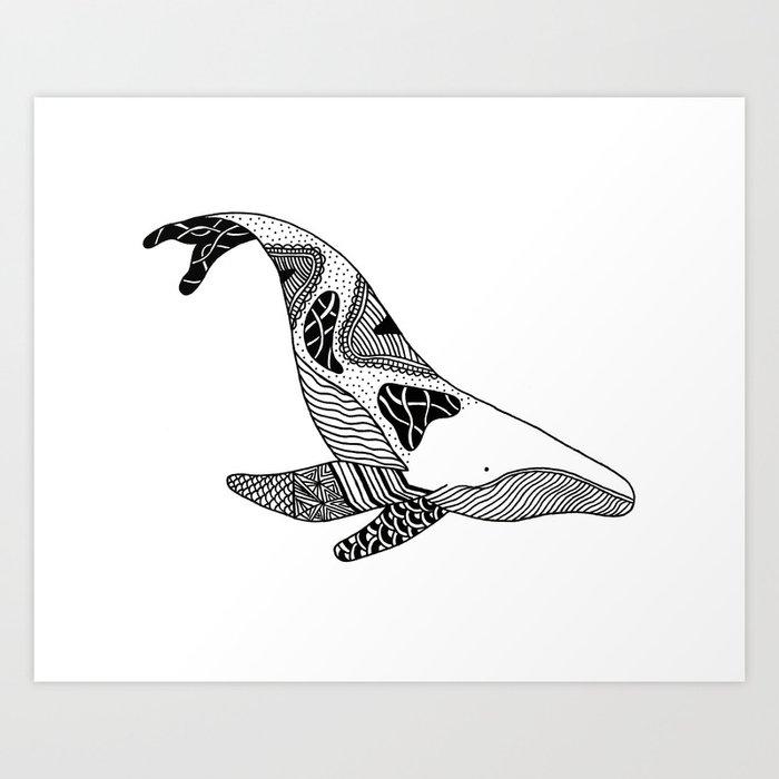 Patchwork Whale Art Print