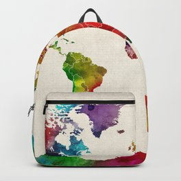Watercolor Map of the World Map Backpack