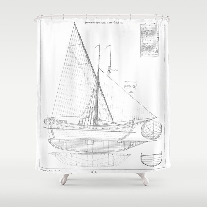 Vintage black white sailboat blueprint drawing antique nautical vintage black white sailboat blueprint drawing antique nautical beach or lake house preppy decor shower malvernweather Gallery