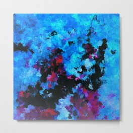 Teal (Blue) Abstract Acrylic Painting Metal Print