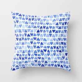 Triangle Watercolor Seamless repeating Pattern - Blue Throw Pillow