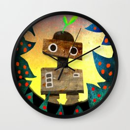 Robot in the Forest Wall Clock