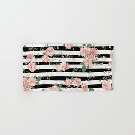 VINTAGE FLORAL ROSES BLACK AND WHITE STRIPES Hand & Bath Towel