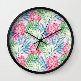 Pineapple & watercolor leaves Wall Clock