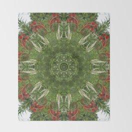 Cardinal flower and Culver's root kaleidoscope Throw Blanket