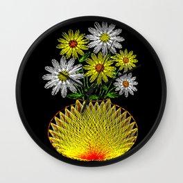 String Art Flowers Wall Clock
