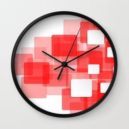 RED AND WHITE SQUARES ON A WHITE BACKGROUND Abstract Art Wall Clock