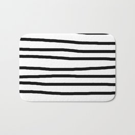 Simply Drawn Stripes in Midnight Black Bath Mat