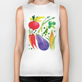 Veg Out - Vegetable, Veggies, Watercolor, Food, Beet, Carrot, Pea Biker Tank