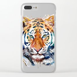 Tiger Head watercolor Clear iPhone Case
