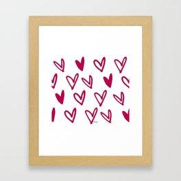 Lovely hearts - fuchsia heart pattern Framed Art Print