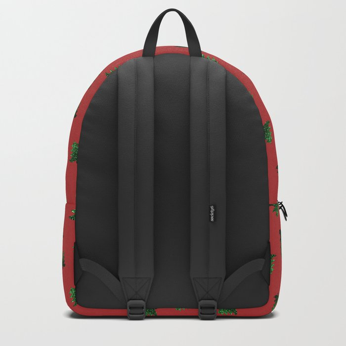 Sparkly Christmas tree green sparkles pattern on Red Backpack