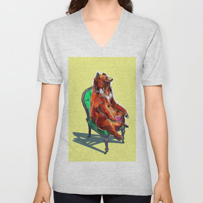 animals in chairs #20 The Bear at Tea Unisex V-Neck