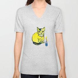 Yellow Cat with Craspedia Unisex V-Neck