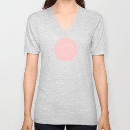 Libra Star Sign Soft Pink Circle Unisex V-Neck