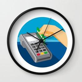 Hand Swiping Credit Card on POS Terminal Retro Wall Clock