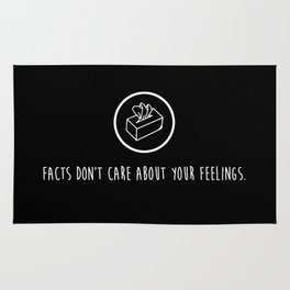 Facts don't care about your feelings Liberal Tears Kleenex Tissue box  #MAGA whit background Rug