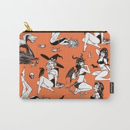 Retro Monster Girl Pinup Pattern Carry-All Pouch