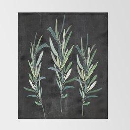 Eucalyptus Branches On Chalkboard Throw Blanket