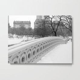On Bow Bridge, B&W Photography Metal Print