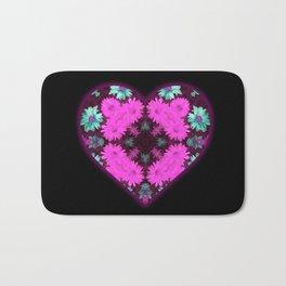 Mandala Flower Love Heart Bath Mat