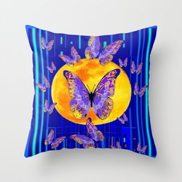 Lilac Patterned Butterfly Full Moon Abstract Throw Pillow