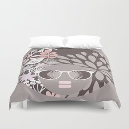 Afro Diva : Sophisticated Lady Pale Pink Peach Beige Duvet Cover