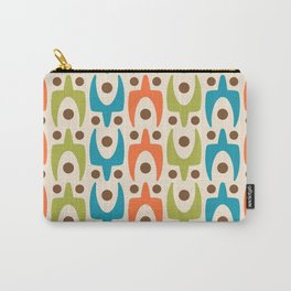 Mid Century Modern Abstract Pattern 441 Orange Chartreuse and Turquoise Carry-All Pouch