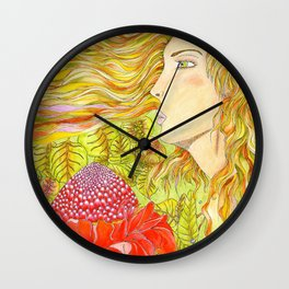 Madinina girl with red porcelain rose flower Wall Clock
