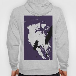 Odin Portrait and Silhouette of Ravens Vector Art Hoody