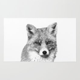Black and White Fox Rug