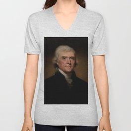 portrait of Thomas Jefferson by Rembrandt Peale Unisex V-Neck